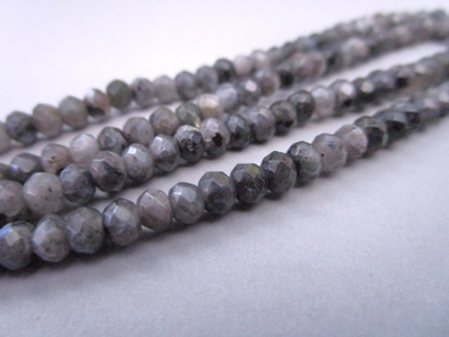 Larvikite 4x3mm faceted rondelle gemstone beads