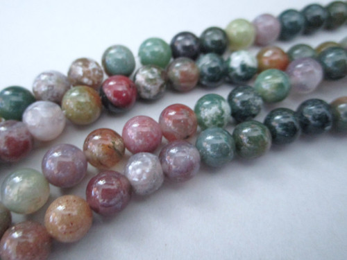 Indian agate 7mm round gemstone beads