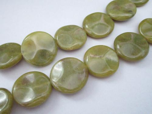 Olive jade 25mm wavy coin gemstone beads