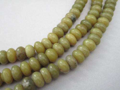 Olive jade 8.5mm rondelle gemstone beads
