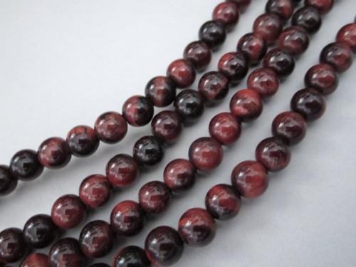 Red tigereye 6mm round gemstone beads