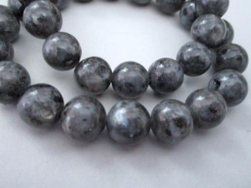 Larvikite 11mm round gemstone beads