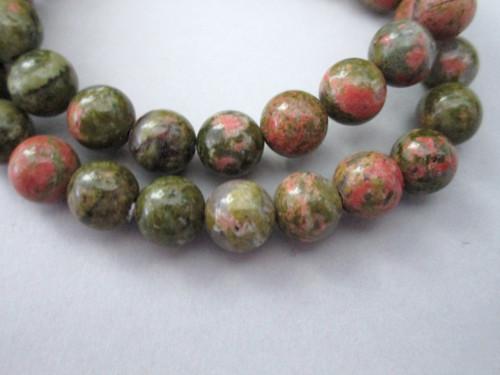 Unakite 8mm round gemstone beads