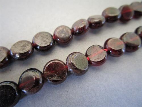 Garnet 7-8mm Coin Gemstone beads