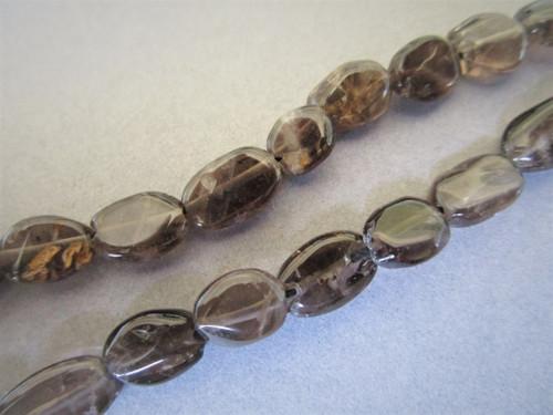 Smoky quartz flat oval gemstone beads