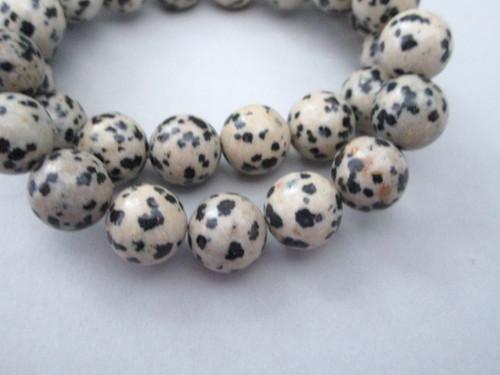 Dalmation jasper 10.5mm round gemstone beads