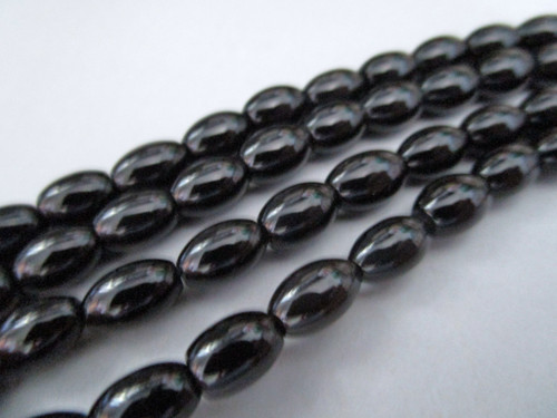 Obsidian 6x4mm oval gemstone beads