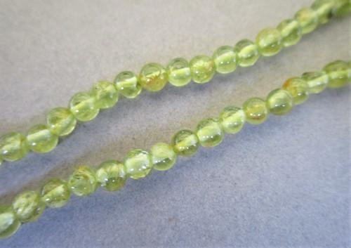 Peridot 2mm round gemstone beads