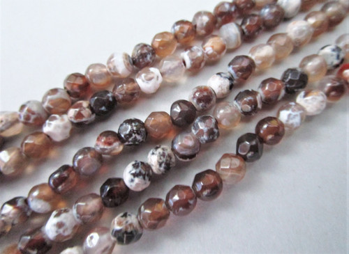 Brown fire agate 4mm faceted round gemstone beads