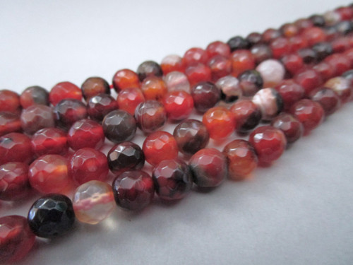 Red agate 6mm faceted round gemstone beads