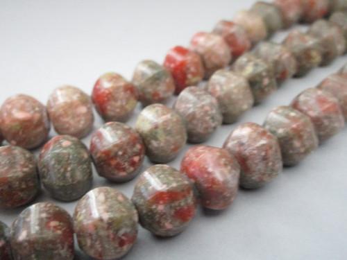 Autumn jasper 13x11mm hexagon drum gemstone beads