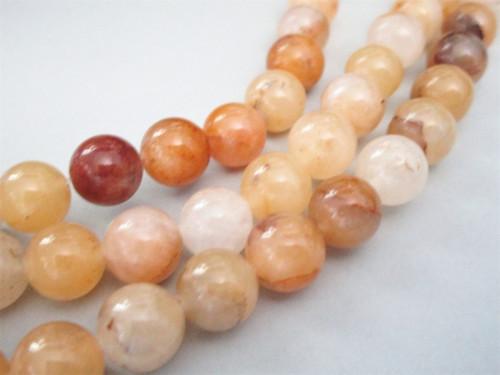 Yellow quartz 10mm round gemstone beads