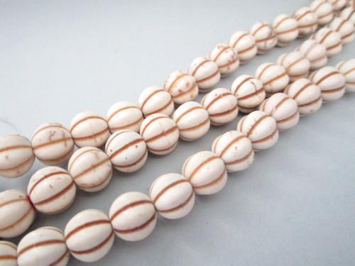 White howlite 10mm melon fluted round gemstone beads