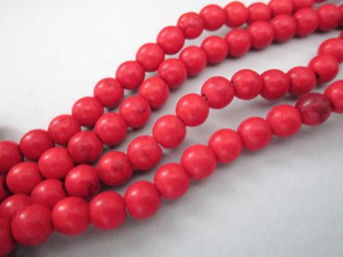 Red howlite 6mm round gemstone beads