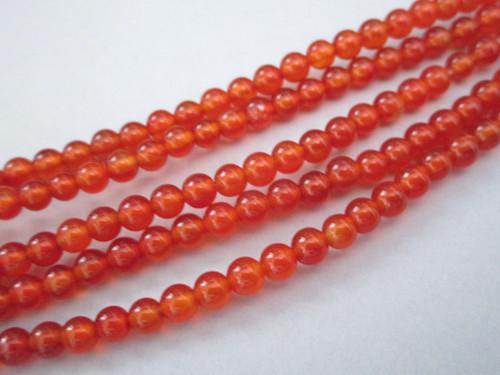 Carnelian 4mm round gemstone beads