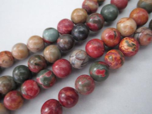 Red creek jasper 8mm round gemstone beads