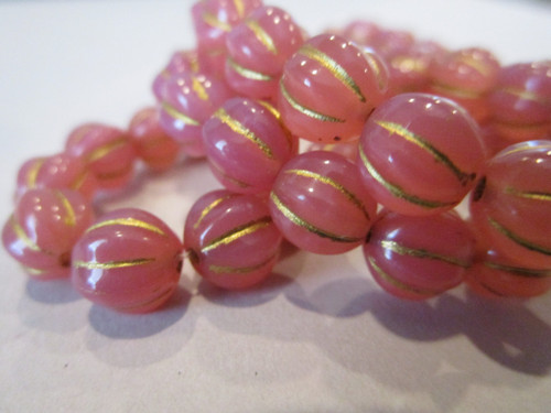 Pink dusty rose with gold wash 8mm melon Czech beads