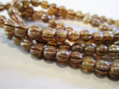 Brown champagne picasso 4mm melon Czech beads