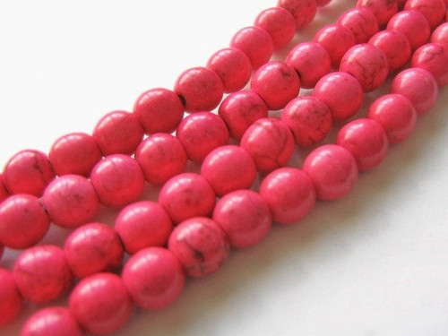 Pink howlite 6mm round gemstone beads