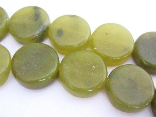 Olive jade coin gemstone beads