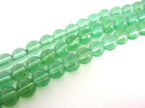 Transparent green 6mm round glass beads