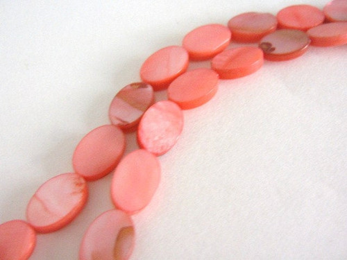 Pink 8x12mm flat oval Mother of Pearl beads