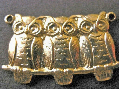 Brass connector 22x13mm owls on branch bird
