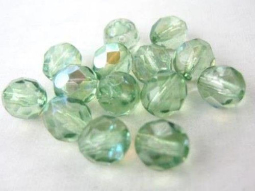 Green ab 8mm faceted round Czech beads