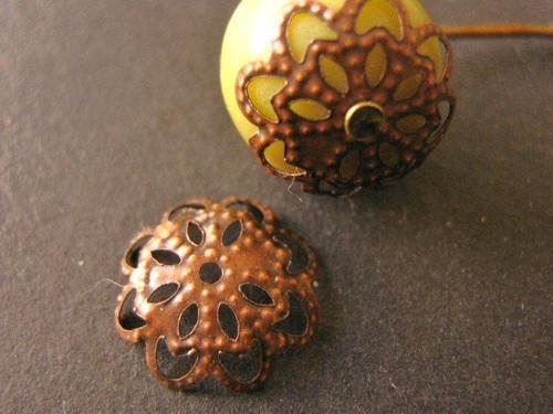 Filigree flower bead caps 11mm antique copper finish