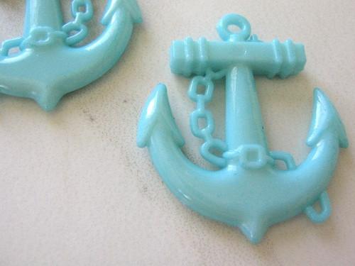 Opaque blue 45mm anchor pendant acrylic plastic
