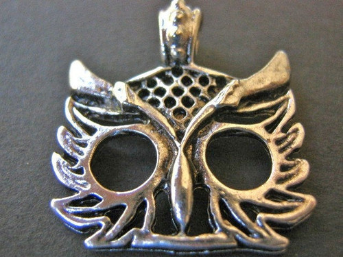 Owl charm 25mm antique silver finish