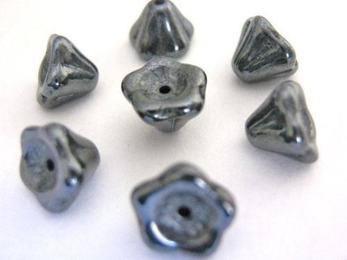 gray 8x6mm flower Czech glass beads