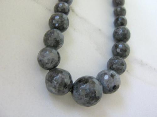 Larvikite 7-14mm faceted round gemstone beads