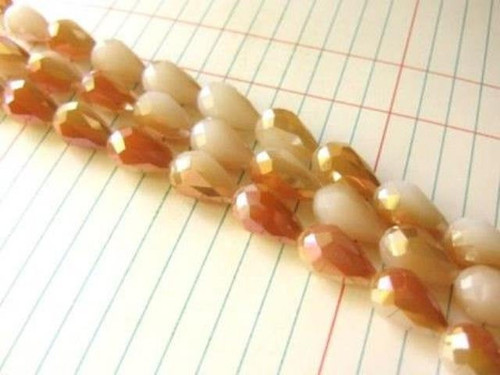 White orange ab 10x15mm faceted teardrop glass beads