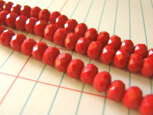 Opaque red 6x4mm faceted rondelle glass crystal bead
