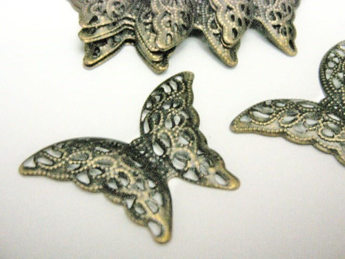 Filigree butterfly stamping 40mm antique bronze finish