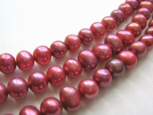 Pink 6mm potato freshwater pearl beads