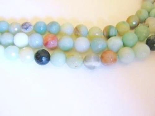 Amazonite 8mm faceted round gemstone beads