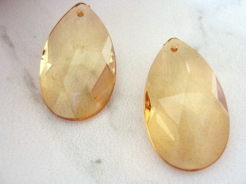 Brown 21x37mm faceted teardrop acrylic beads
