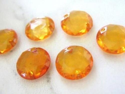 Orange 13mm coin acrylic beads