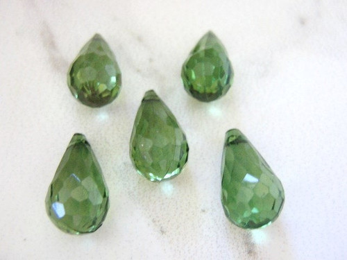 Green micro faceted teardrop 10x18mm acrylic beads