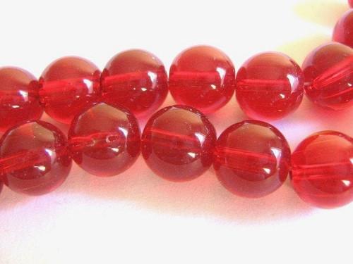 Red 10mm round glass beads