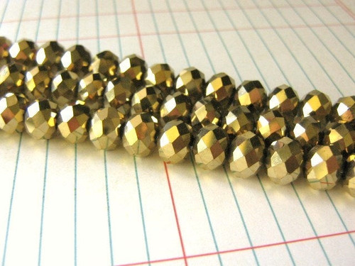 Gold metallic 10x8mm faceted rondelle glass beads
