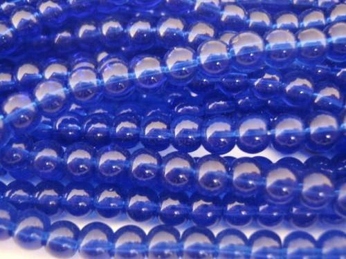 Transparent cobalt blue 6mm round glass beads