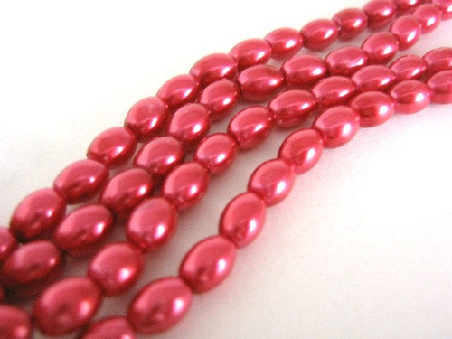 Red 8x4mm Oval Glass Pearl Beads
