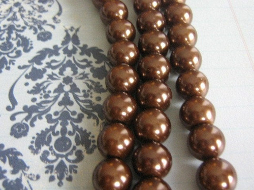 Brown 10mm round glass pearl beads