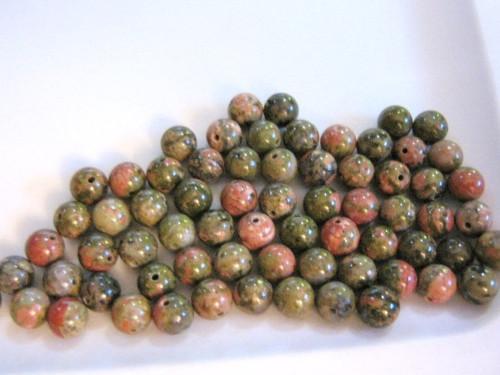 Unakite 6mm round gemstone beads