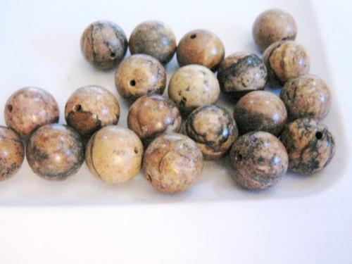 Picture jasper 12mm round gemstone beads