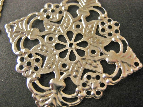 Silver tone finish 49mm square filigree stamping