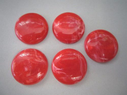 Marbled red orange 26mm round vintage lucite cabochon